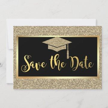 Elegant Faux Gold Glitter Graduation Save The Date