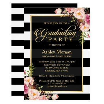 Elegant Floral Gold Black White Stripes Graduation Invitation