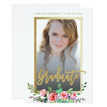 Elegant Floral Gold Chic Photo Graduation Party Invitation