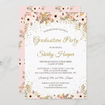 Elegant Floral Gold Confetti Pink Graduation Party Invitation
