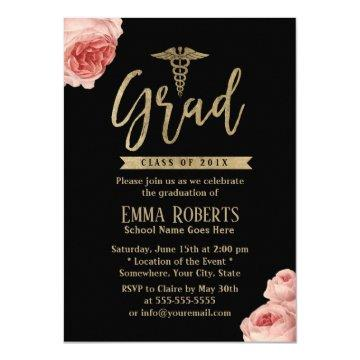 Elegant Floral Gold Medical Nurse Graduation Party