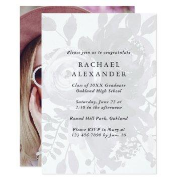 Elegant Floral Graduation Party Photo Invitation
