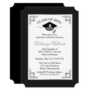 Elegant Formal Silver College Graduation Party Invitation