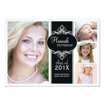 Elegant Girl 4 Photo Black & White Graduation Card
