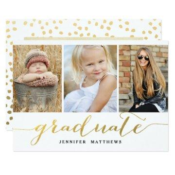Elegant Gold Script 3 Photo Graduation Party Invitation