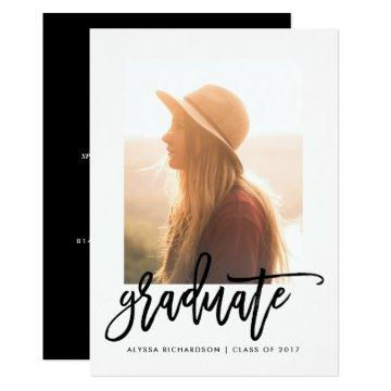 Elegant Graduate | Typography Photo Grad Party Card