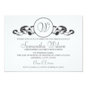 Elegant Graduation Monogram Ribbon Black Card