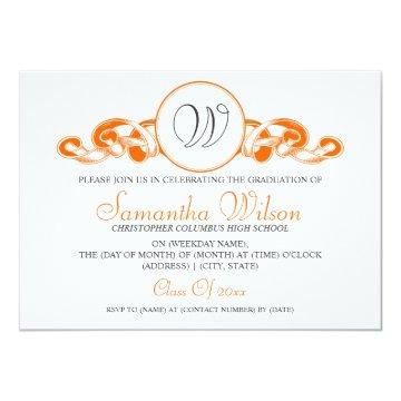Elegant Graduation Monogram Ribbon Orange Card