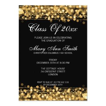 Elegant Graduation Party Gold Lights & Sparkles Card