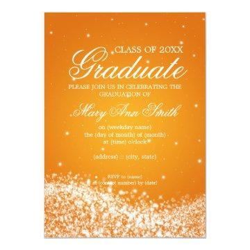 Elegant Graduation Party Sparkling Wave Orange Invitation