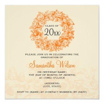 Elegant Graduation Party Vintage Roses Orange Tan Card