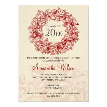 Elegant Graduation Party Vintage Roses Red Tan Card