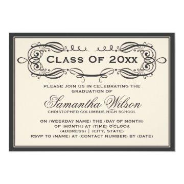 Elegant Graduation Party Vintage Swirls Black Card