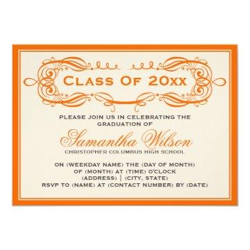 Elegant Graduation Party Vintage Swirls Orange Card