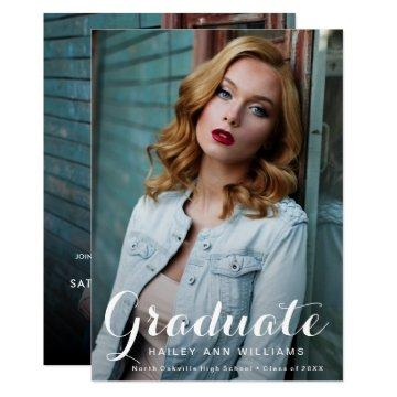 Elegant Graduation Script 2-sided Photo Grad Party Invitation