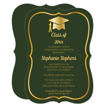 Elegant Green | Gold Cap 2019 Graduation Party