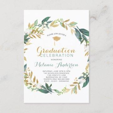 Elegant Greenery Gold Wreath Graduation Party Invitation