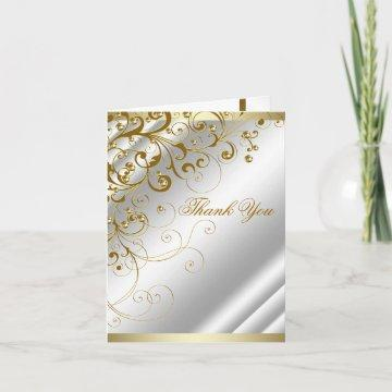 Elegant Ivory Gold Swirl Thank You
