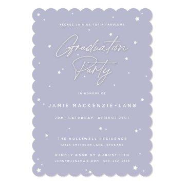 Elegant Lilac Script and Stars Graduation Party Invitation