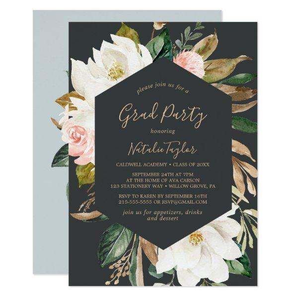 Elegant Magnolia Black and White Graduation Party Invitation