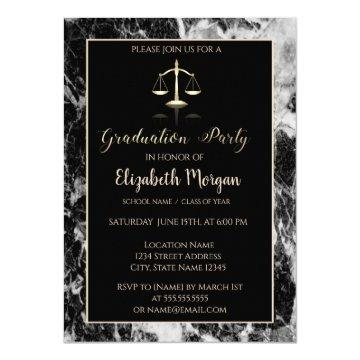 Elegant Marble Law School Graduation Party Invitation