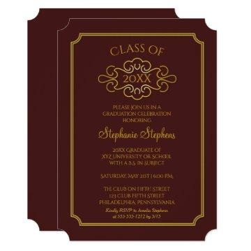 Elegant Maroon | Gold College Graduation Party Invitation