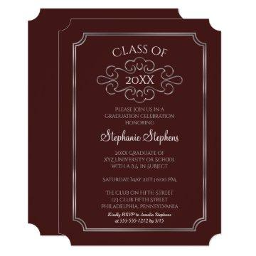 Elegant Maroon | SIlver College Graduation Party Invitation