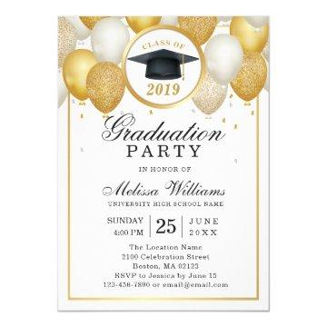 Elegant Modern White Gold Glitter Graduation Party Invitation