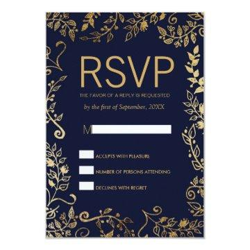 Elegant Navy Blue Gold Floral RSVP Cards