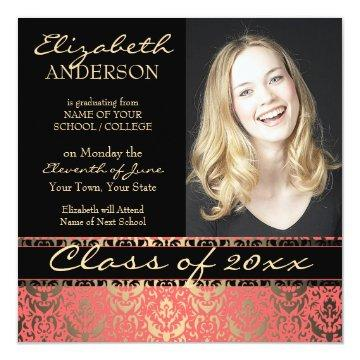 Elegant Peach and Gold Damask Graduation Card