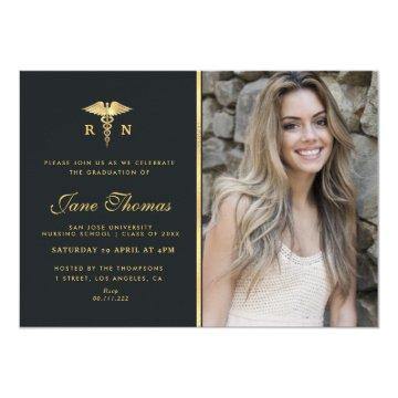 Elegant photo Nursing school graduation party Invitation