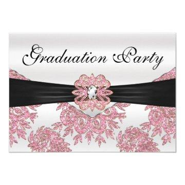 Elegant Pink Glitter Graduation Party Card