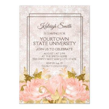 Elegant Pink Gold Floral Ivory Damask Trunk Party Invitation