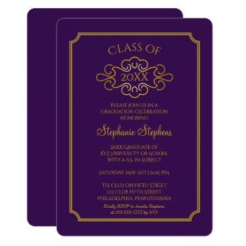 Elegant Purple | Gold College Graduation Party Invitation
