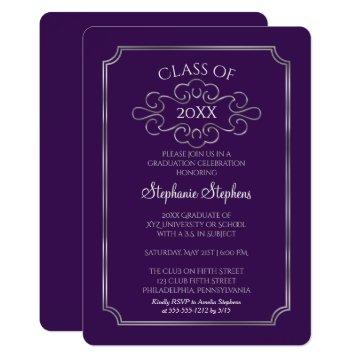 Elegant Purple | Silver College Graduation Party Invitation