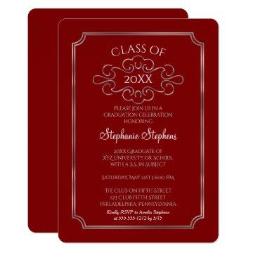 Elegant Red | Silver College Graduation Party Invitation
