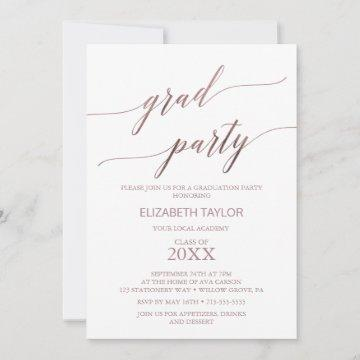 Elegant Rose Gold Calligraphy Graduation Party Invitation
