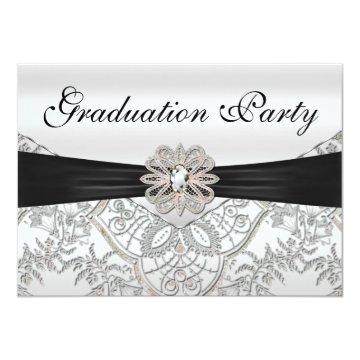 Elegant Silver Black and Pink Graduation Party