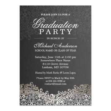 Elegant Silver Damask Grad Graduation Party Card