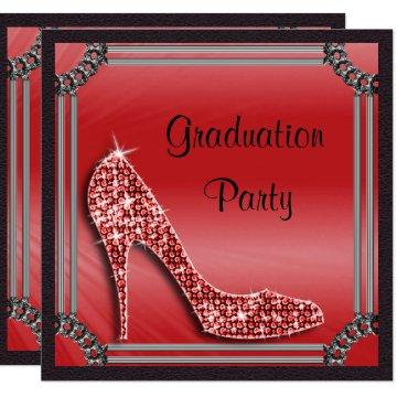 Elegant Silver Framed Red Stiletto Graduation Card