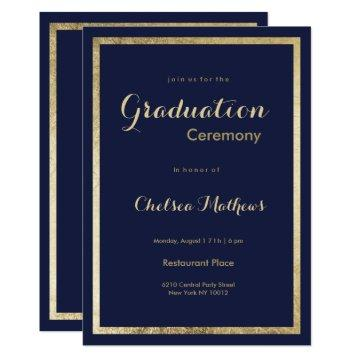 Elegant stylish navy blue faux gold Graduation Card