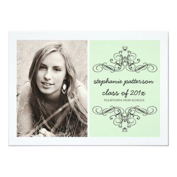 Elegant Swirl Modern Vintage Photo Graduation Mint Invitation