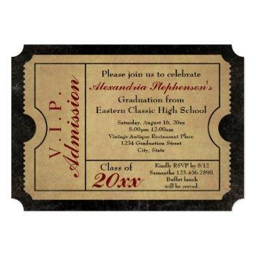 Elegant Vintage Admission Ticket Custom Graduation Card