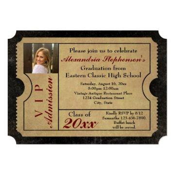 Elegant Vintage Admission Ticket Photo Graduation Card