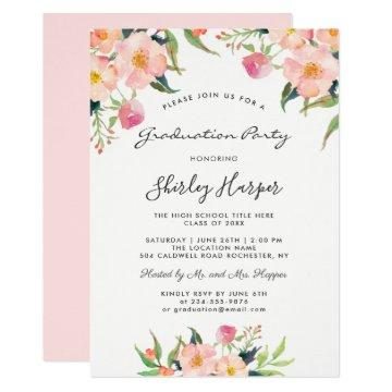 Elegant Watercolor Pink Floral Graduation Party
