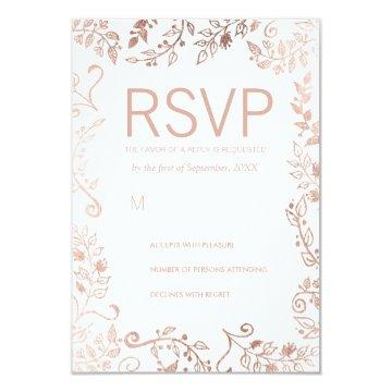 Elegant White Rose Gold Floral RSVP Cards