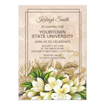Elegant WhiteGold Floral Ivory Damask Trunk Party Invitation