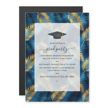Exotic Tropical Blue and Gold Graduation Party Magnetic Invitation