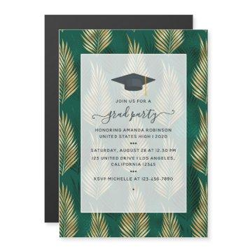Exotic Tropical Green and Gold Graduation Party Magnetic Invitation