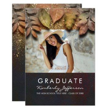 Fall Leaves and Gold Glitter Photo Graduation